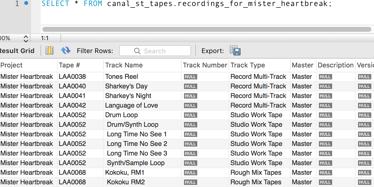 Canal St Studios Tapes Database